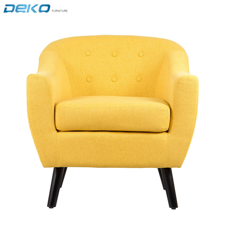colourful fabric tufted button back armchair with wooden legs for living room and coffee  bar
