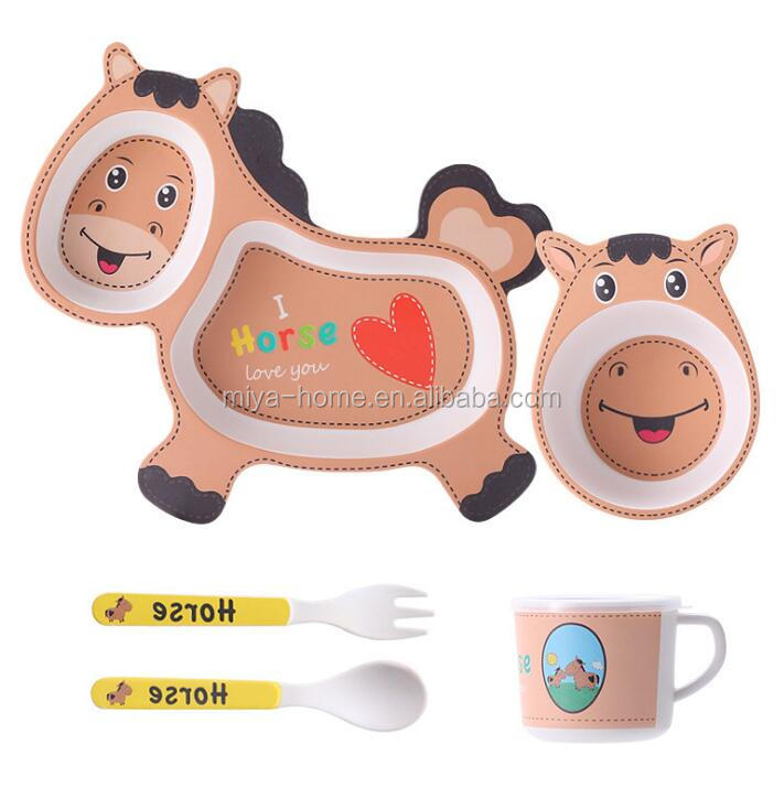 New arrival creative cartoon bamboo fiber children's cutlery set / baby cute plate bowl water cup spoon fork set