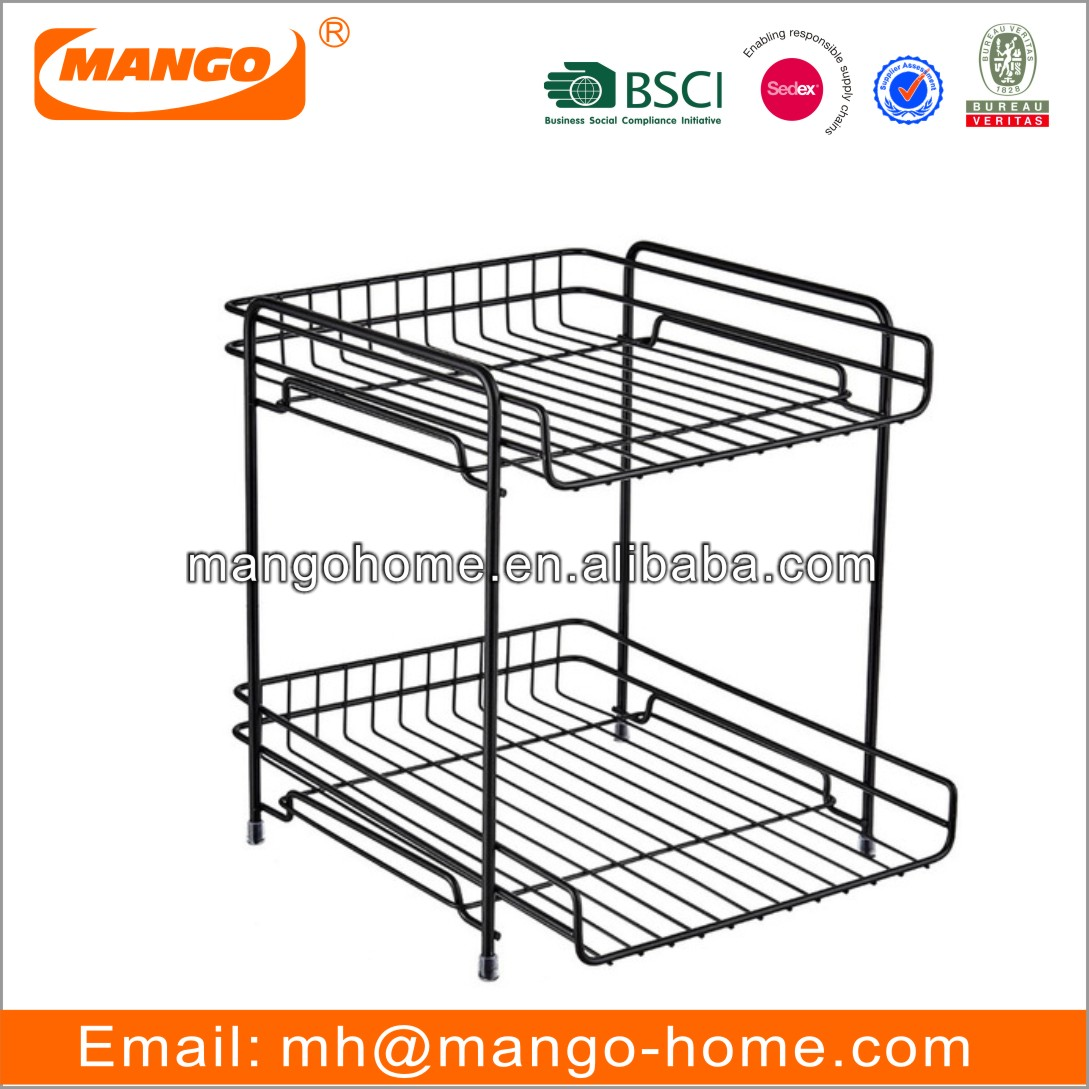 2 Layers Metal Wire Kitchen Storage Rack Modern Metal Spice Rack File Holder Magazine Holder