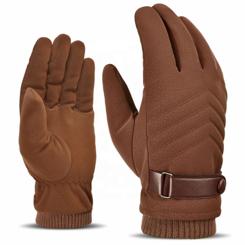Motorcycle Mens Winter Touch Screen Thickening Velvet Warm Outdoor Skid Sports Riding Leather Gloves <span style=