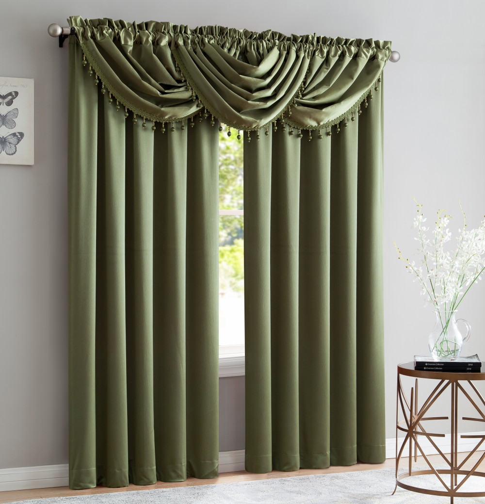 Custom Size Ready Made Solid Color Green Satin Crush Window Curtain for Living Room Shading  Bedroom Luxury Room