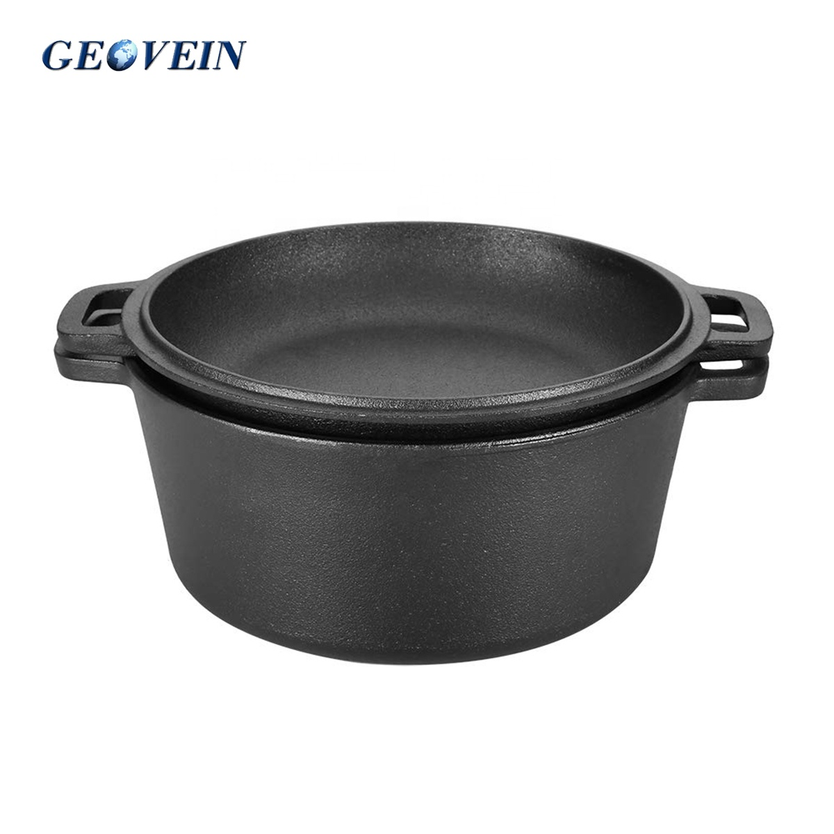 Pre-seasoned Combo Cooker 2 in 1 Cast Iron Double Dutch Oven 5-Quart With Domed Skillet Lid