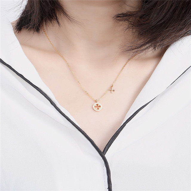 925 Sterling Silver Plated 24K Yellow Gold Jewelry Wholesale China Jewellery Women Cross Necklace