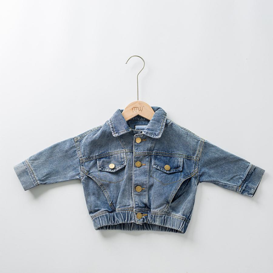 Los niños de los niños azul lavable de jean denim bombardero chaqueta para niños
