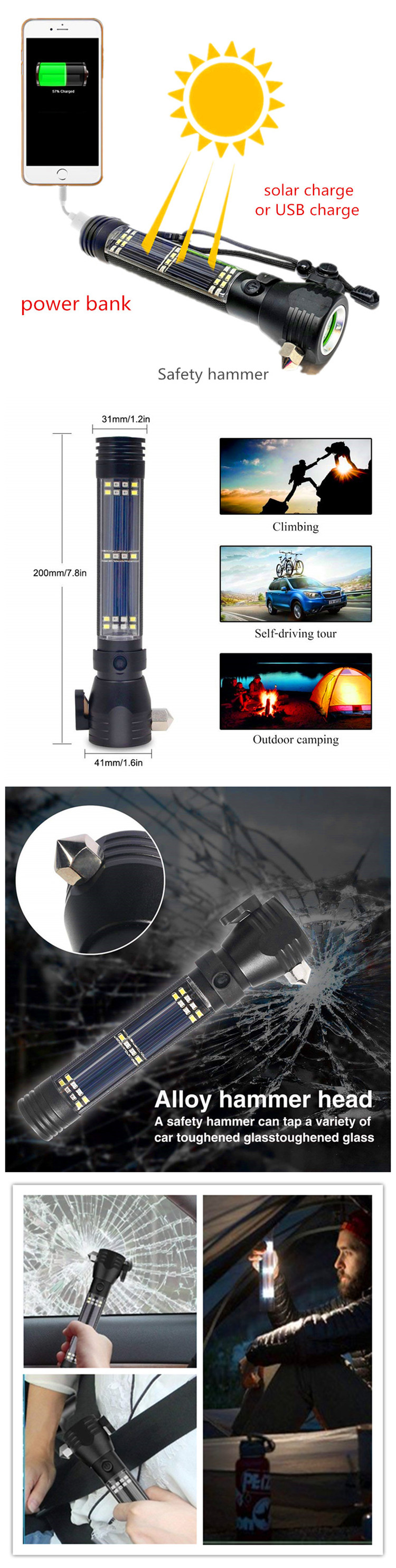 Amazon hot sale USB Rechargeable Solar Torch Light,Self defence Escape rescue Car Broken Windows Solar Powered Led Flashlight