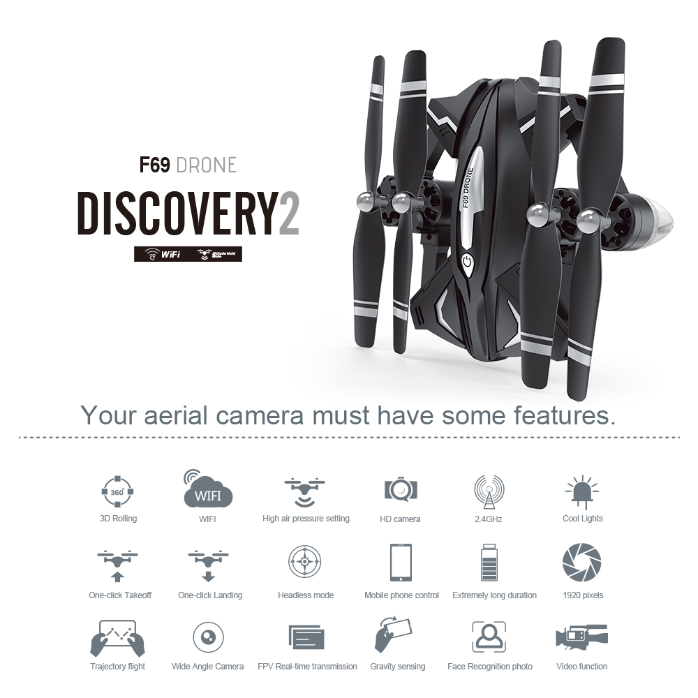 F69 Drone Discovery 2 Folder After Width Only 13.5cm Professional Drone Fashion Technology Power full Wish Flying