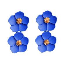 Модные серьги-гвоздики романтические женские разноцветные серьги с цветами Двойные серьги ювелирные аксессуары(Китай)