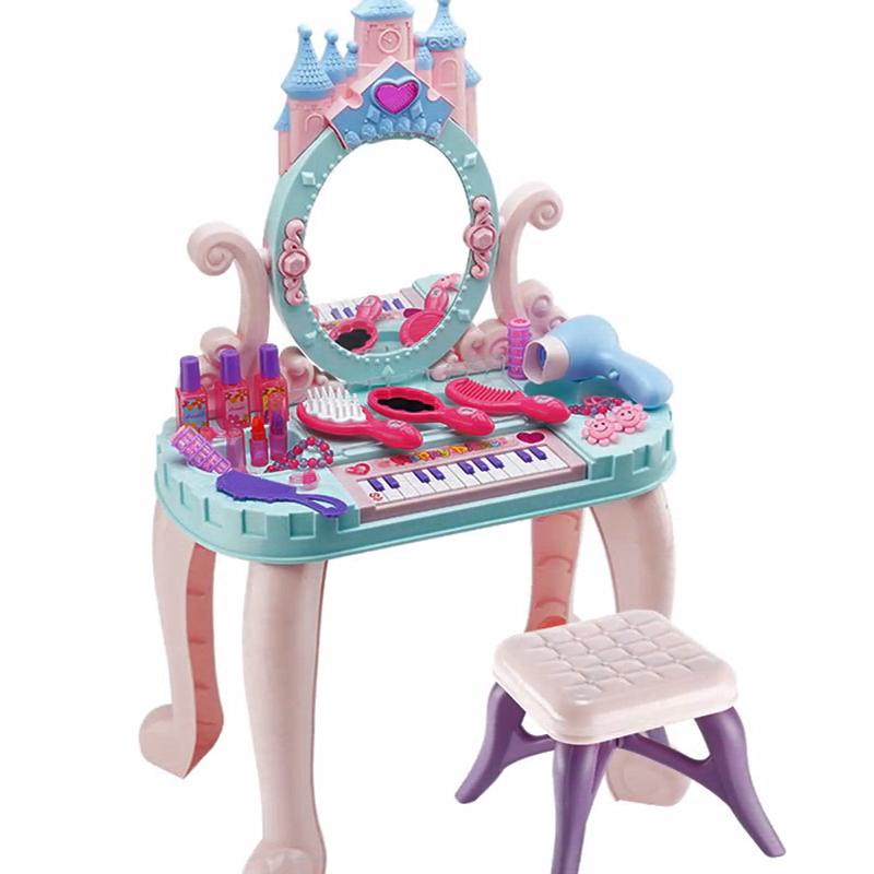 Girls Dressing Table Suit Children Dressing Box Kids Hair Dryer Furniture Toys
