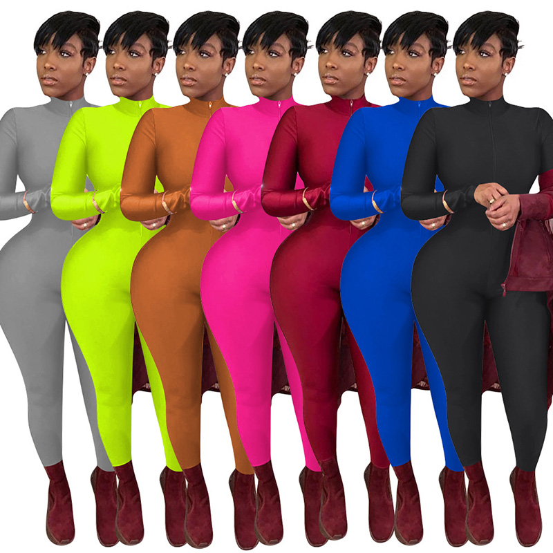 women boutique sexy one piece deep v neck long sleeve bodycon jumpsuits