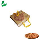 Custom Printed Kraft Paper Pizza Box Carton Biodegradable Pizza Box with Handle for food take away