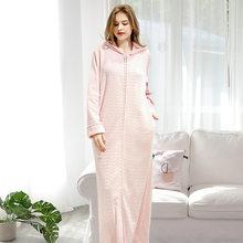 FZSLCYIYI фланелевый банный халат в полоску, унисекс банный халат, зимний плотный длинный халат для влюбленных пар, ночная рубашка на молнии для ...(Китай)
