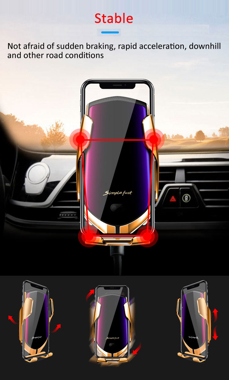 10W Wireless Car Charger R1 Automatic Clamping Fast Charging Car Phone Holder Mount Wireless Charger for iPhone Huawei Samsung