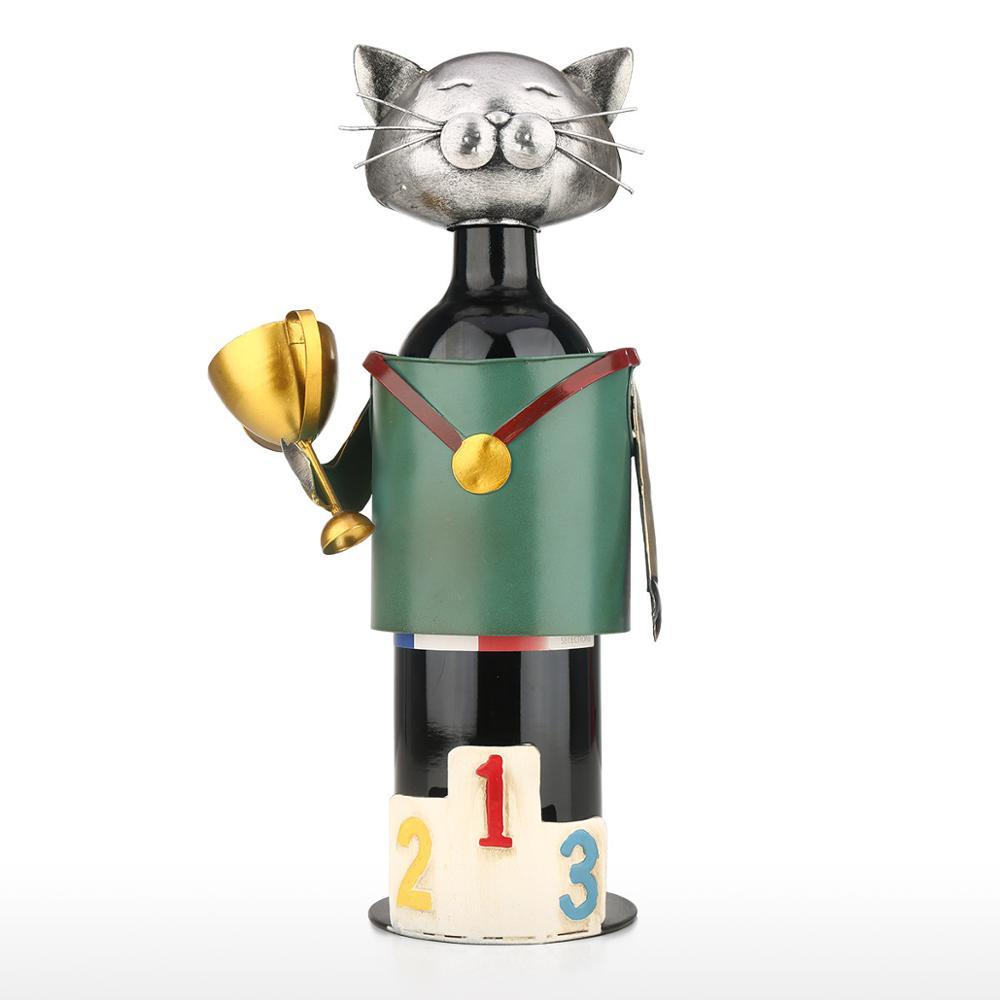 Europeia-estilo para casa decorações de sala de estar do gato exposição do vinho rack de ferro vinho rack de metal removível artesanato