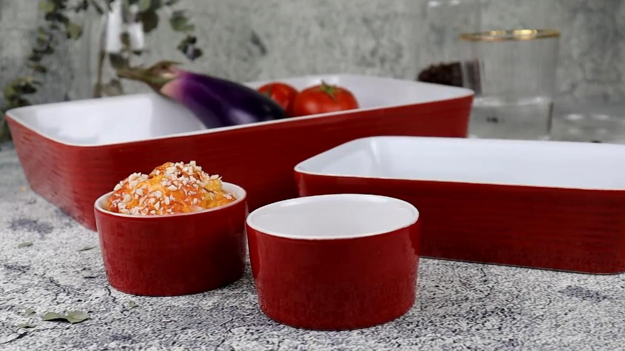 China factory custom design ceramic round ramekin souffle dishes cake bread baking pan rectangle baking pans ceramic baking dish
