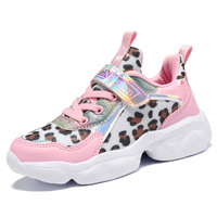 Wholesale new design children fashion leopard sneakers girls walking sports shoes