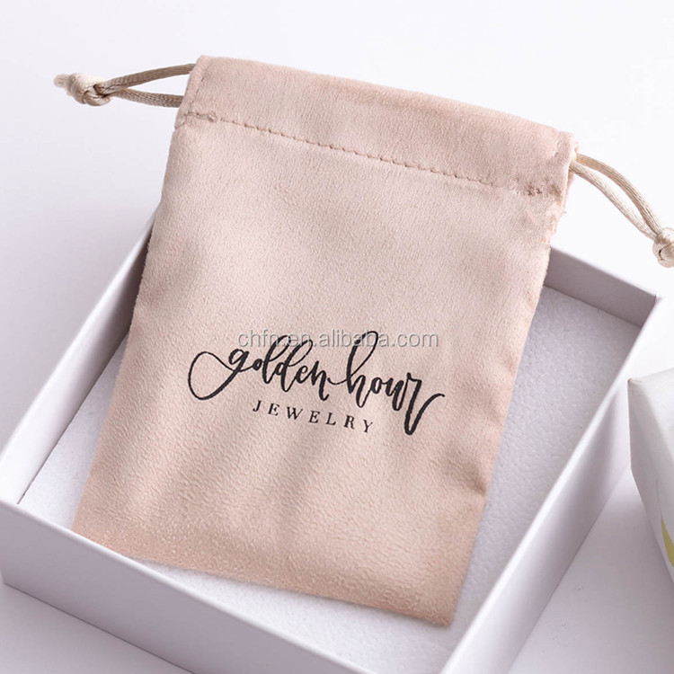 Custom Jewelry Packaging Printed Logo Velvet Drawstring Bag Suede Jewelry Pouch