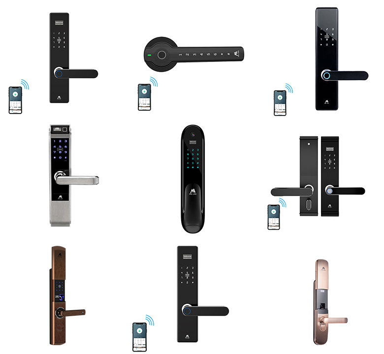 2020 Current TTLock WIFI Bluetooth APP Control Biomertric Fingerprint Apartment House Digital Electric Tuya Smart Door Lock