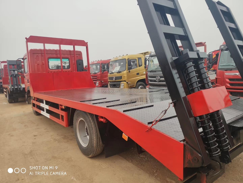 Bajo Precio de China Dongfeng 4X2 6,8 m plana de carga de camión de transporte cargadora excavadora máquinas pesadas