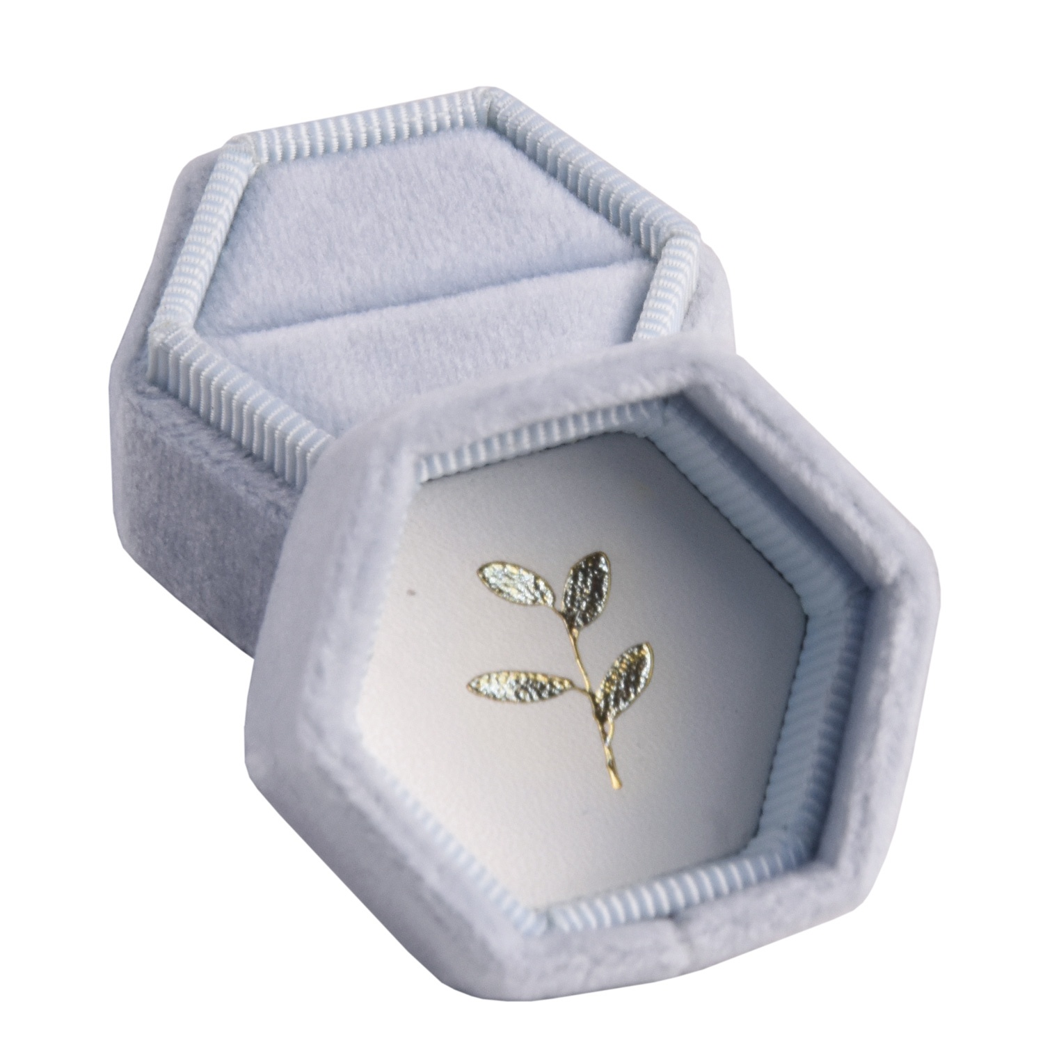 Custom high quality personalized delicate hexagonal velvet engagement ring box wedding ring box velvet