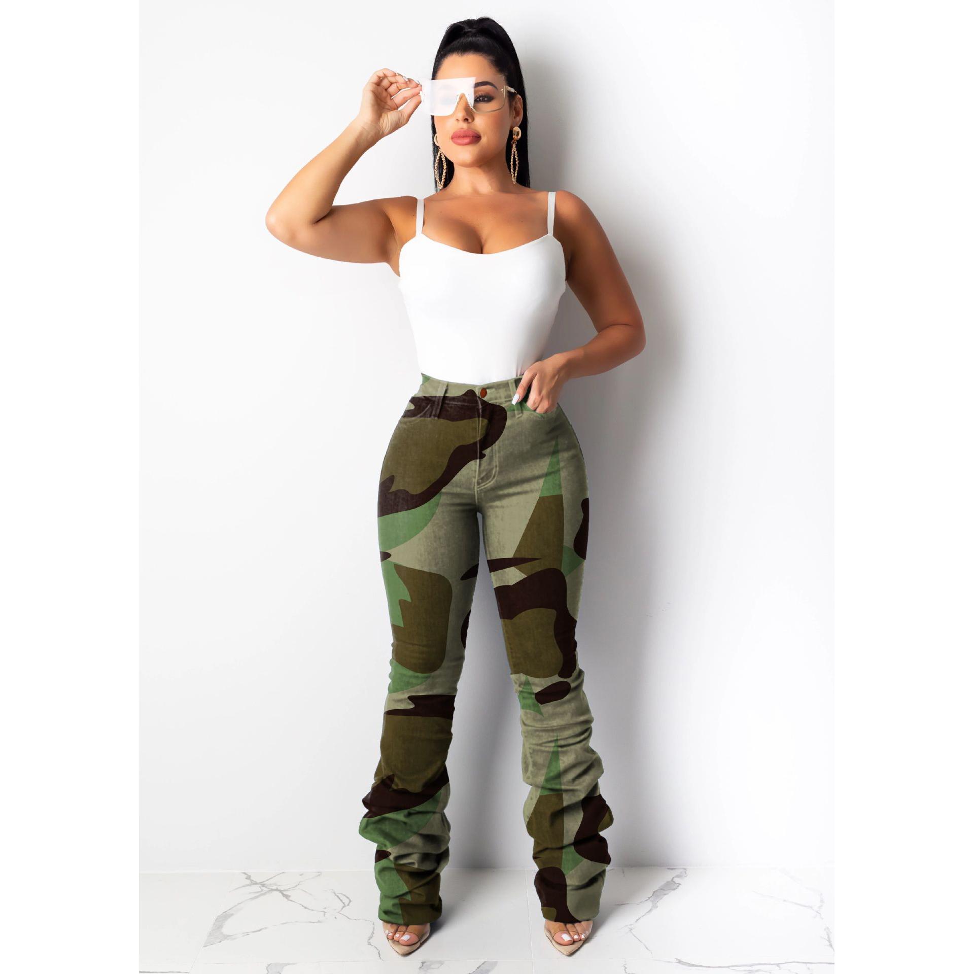 2019 femmes Vêtements Camo Denim Jeans Jeans Taille Haute Plissée Jeans Pantalon