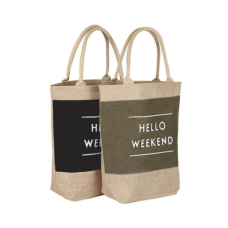 Promosyon yüksek kalite ucuz katlanabilir geri dönüşüm yeniden kullanılabilir özel jüt alışveriş kenevir çanta