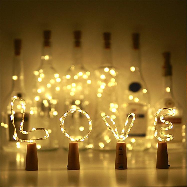 Champán Twinkle decoración de la fiesta de la botella de vino de 20 Leds blanco luces de alambre de plata con corcho forma