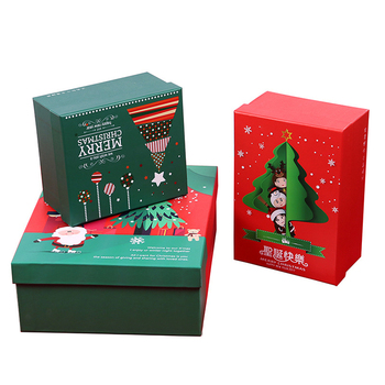 China wholesale high quality custom made gift cardboard hardcover Christmas gift box with lid