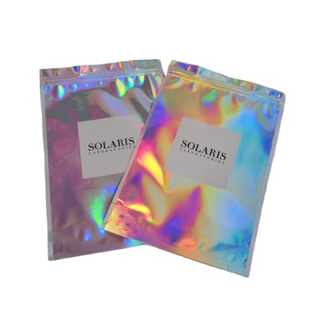 Customized Logo Laser Film Bag Laminated Holographic Film Pouch Mylar Plastic Bag With Zip Lock For Cosmetics Packaging