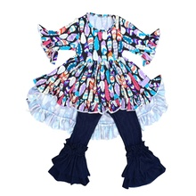 Neue Mode Baby Mädchen Casual Outfit 2pcs Lange Hülse Druck Hallo-Tiefs Und Denim Jeans Hosen Kinder <span class=keywords><strong>Kleidung</strong></span>
