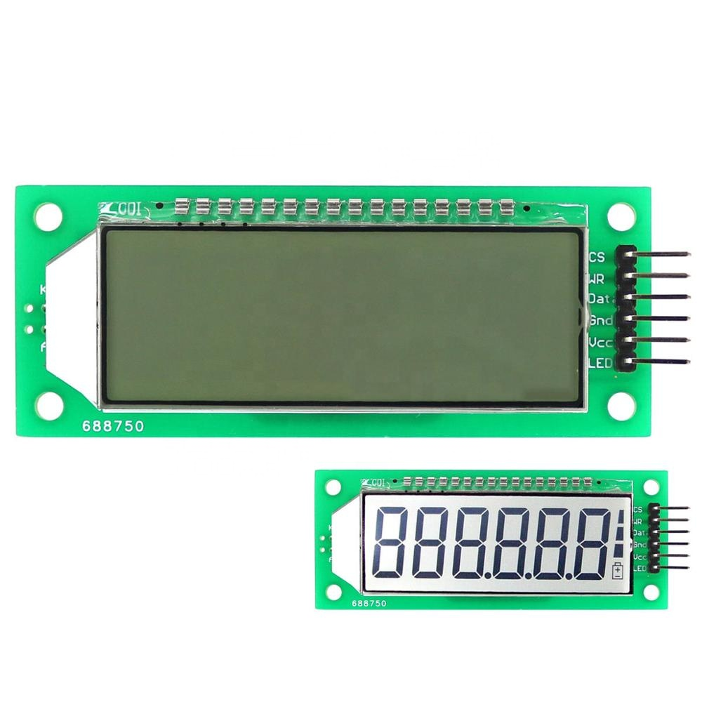 Taidacent 2.4 Inch 6 Digit 7 Segment LCD Display Serial SPI White Blacklight HT1621 LCD Display Module 7 Segment LCD Display