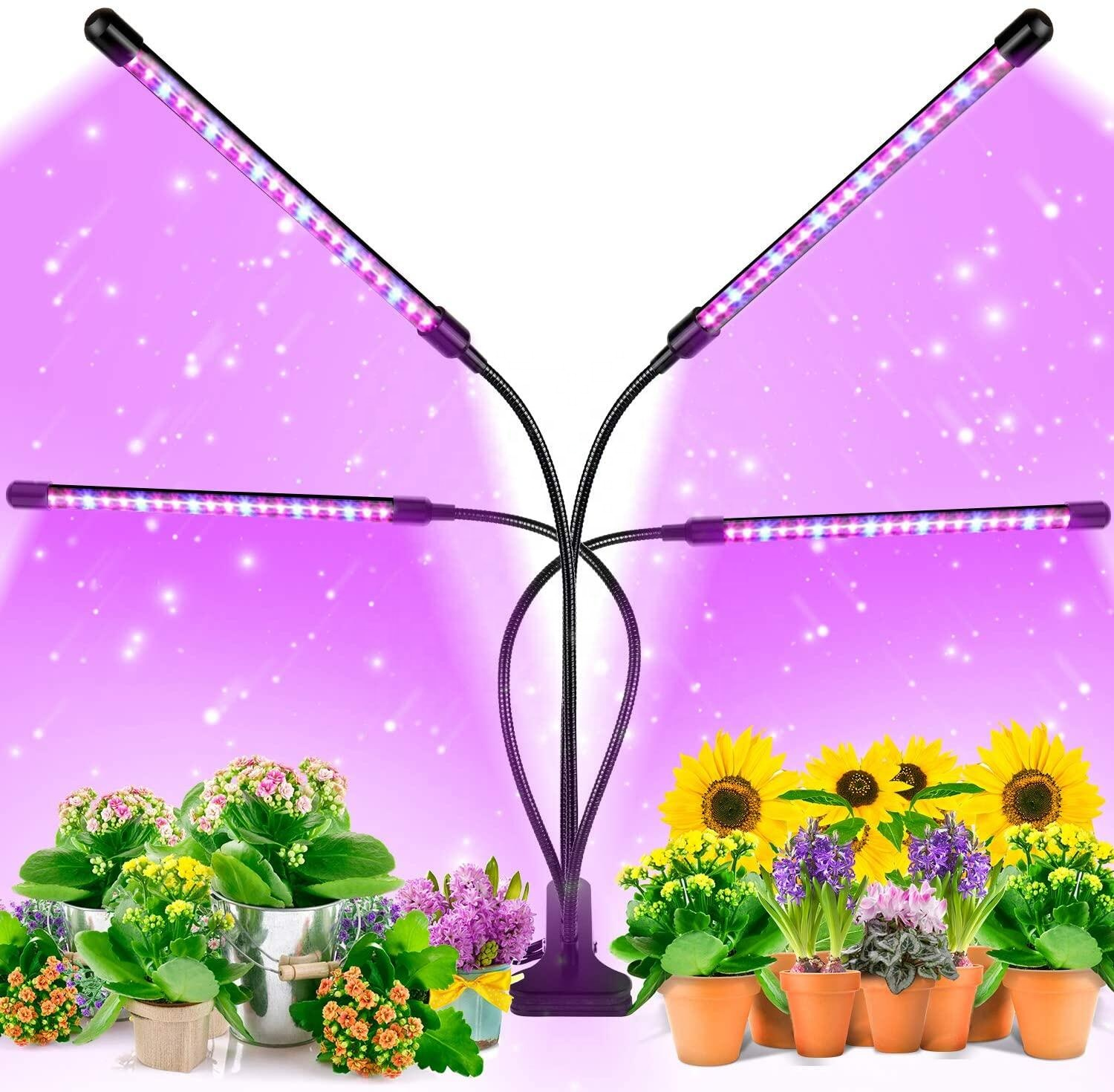 80W 4 Head Timing 80 LED 9 Dimmable Levels Plant LED Grow Lights for Indoor Plants with Red Blue Spectrum,Grow Light