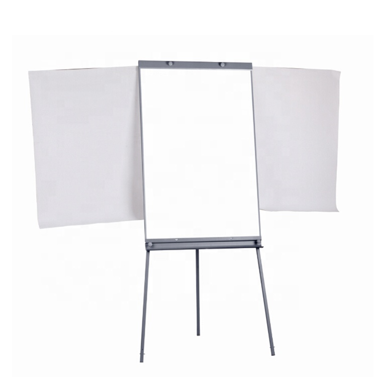 Tripod flipchart easel mobile whiteboard stand height adjustable magnetic flip chart board with extended arms