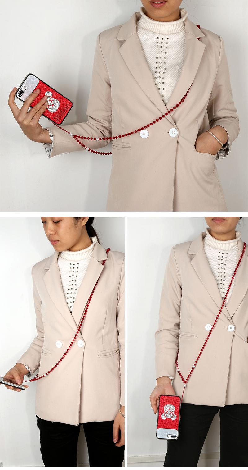 2020 패션 디자인 비즈 전화 끈 스트랩 최신 디자인 아크릴 진주 목걸이 애플 아이폰