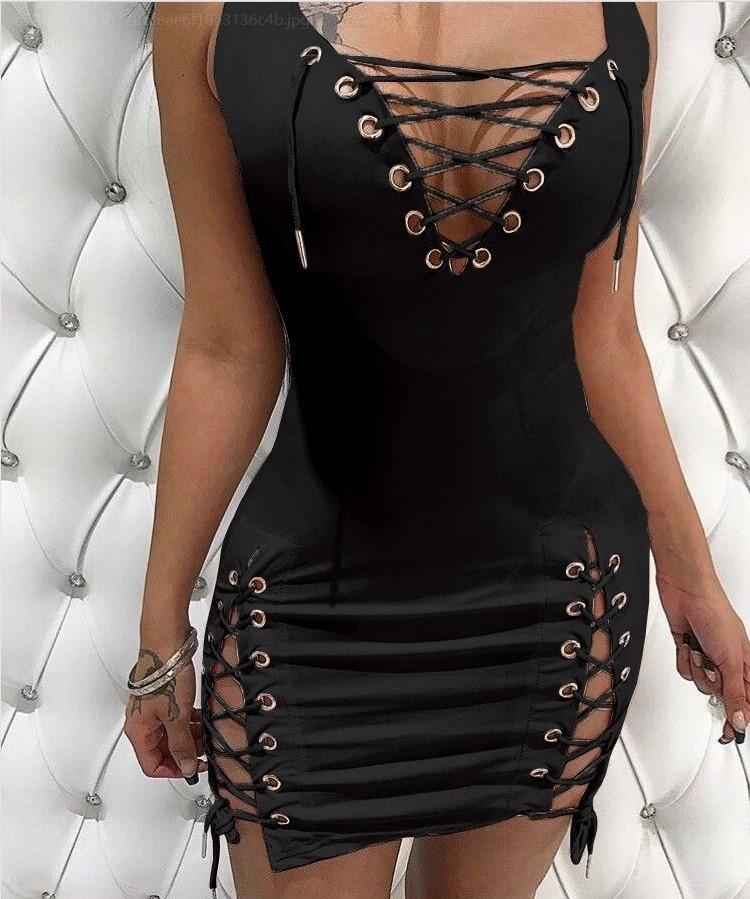 YH Vestidos القطن النساء التعادل حتى الصيف Bodycon فستان حفلة مثير العميق الخامس الرقبة طويلة الأكمام فستان ضمادة النادي الليلي