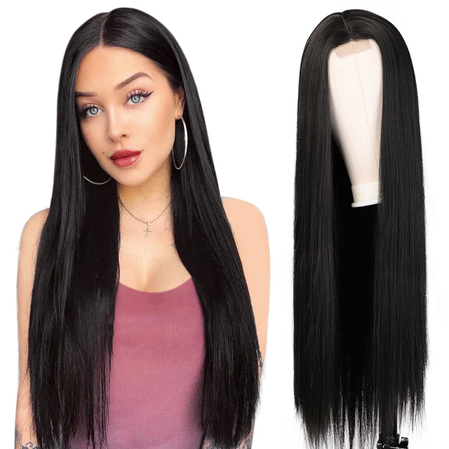 Vigorous 30 inches Middle Part Long Straight Black Hair <strong>Wig</strong> <strong>Synthetic</strong> <strong>Wigs</strong> for Black Women Heat Resistant Fiber Lace <strong>Wigs</strong>