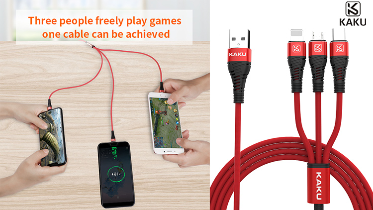 3 in 1 cell phone type c fast charging cords usb cable for apple