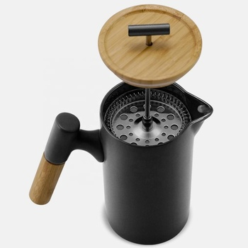 DHPO Trapezoid Matte Black Coffee French Press with Wooden Handle and Coffee Filter