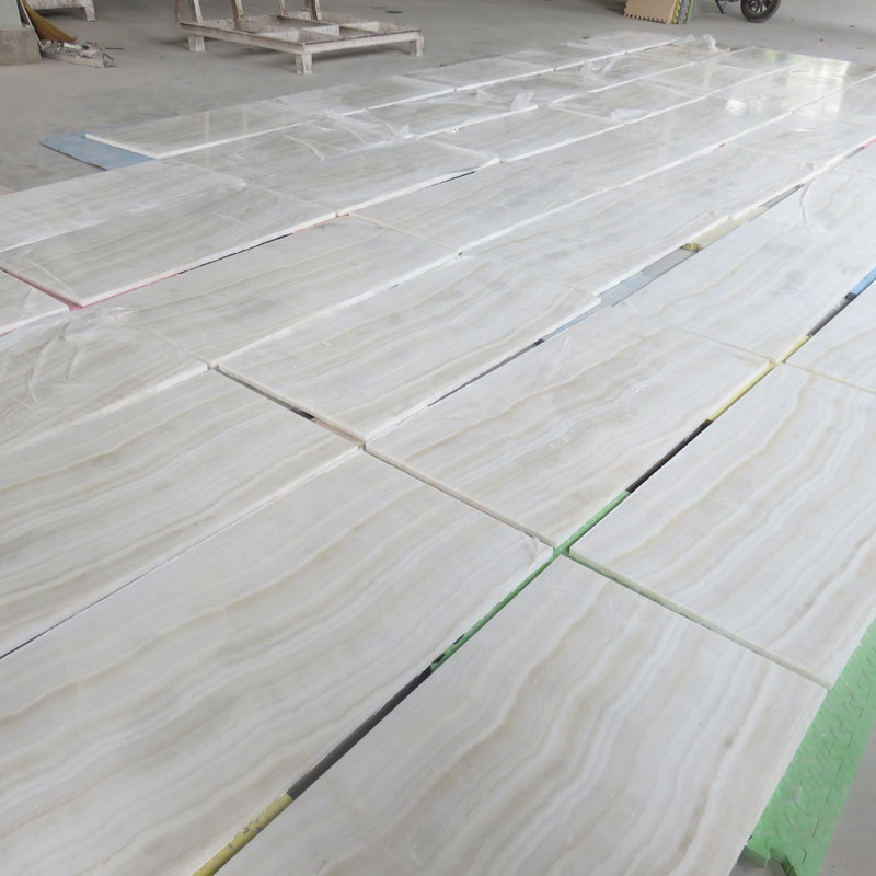 High end project decoration strip wooden veins white onyx marble flooring tile