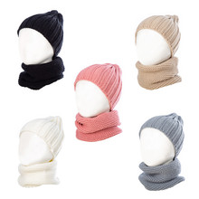 Gebreide <span class=keywords><strong>Beanie</strong></span> Winter Warme Herfst Acryl Solid Cap Sjaal Set Voor <span class=keywords><strong>Baby</strong></span>