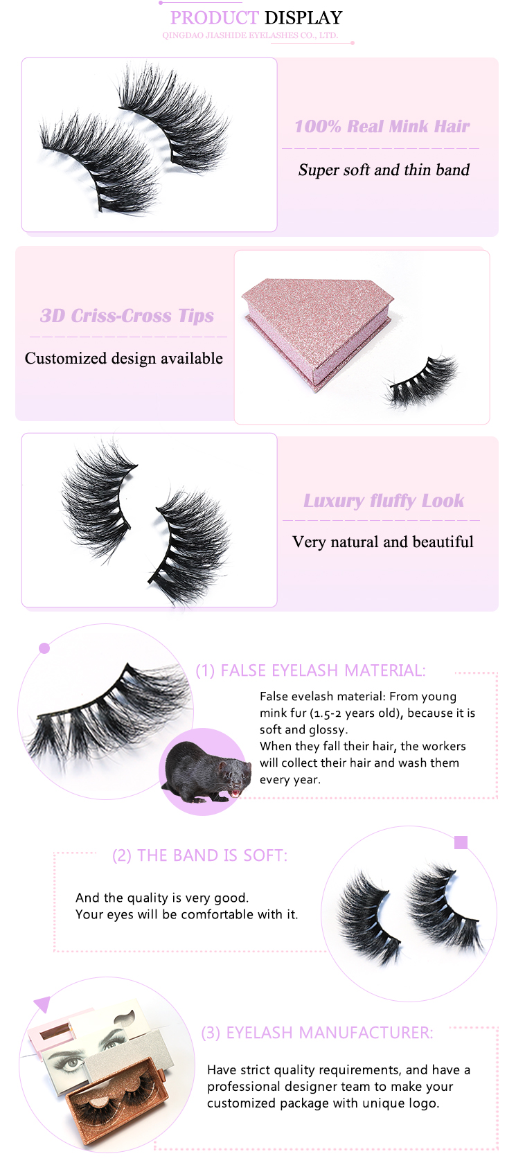 Wholesale eyelashes mink vendor 100% mink fur lashes 25mm 3d mink eyelashes with eyelash packaging box