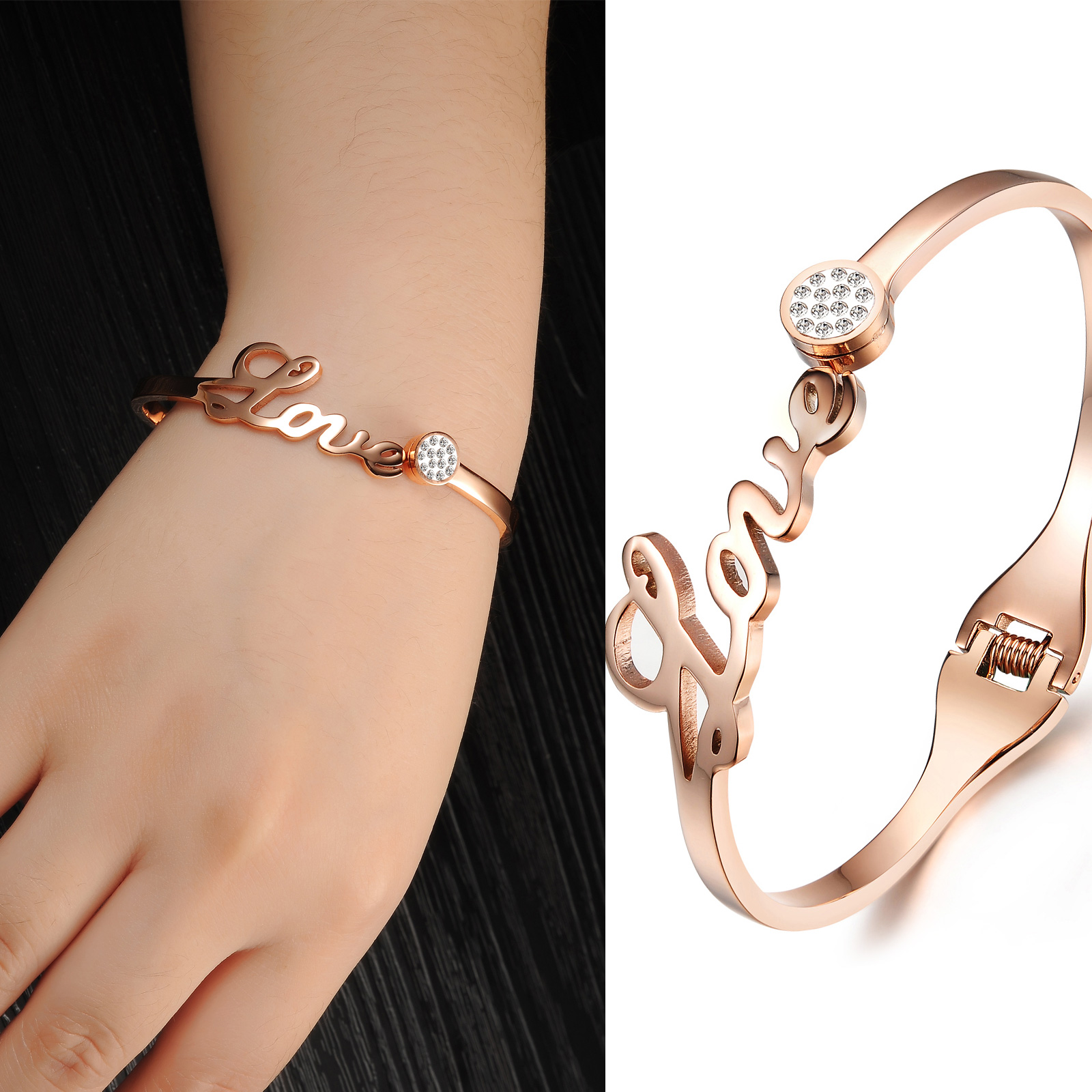 Personalized Custom Letter Stainless Steel Zircon Bracelet For Women
