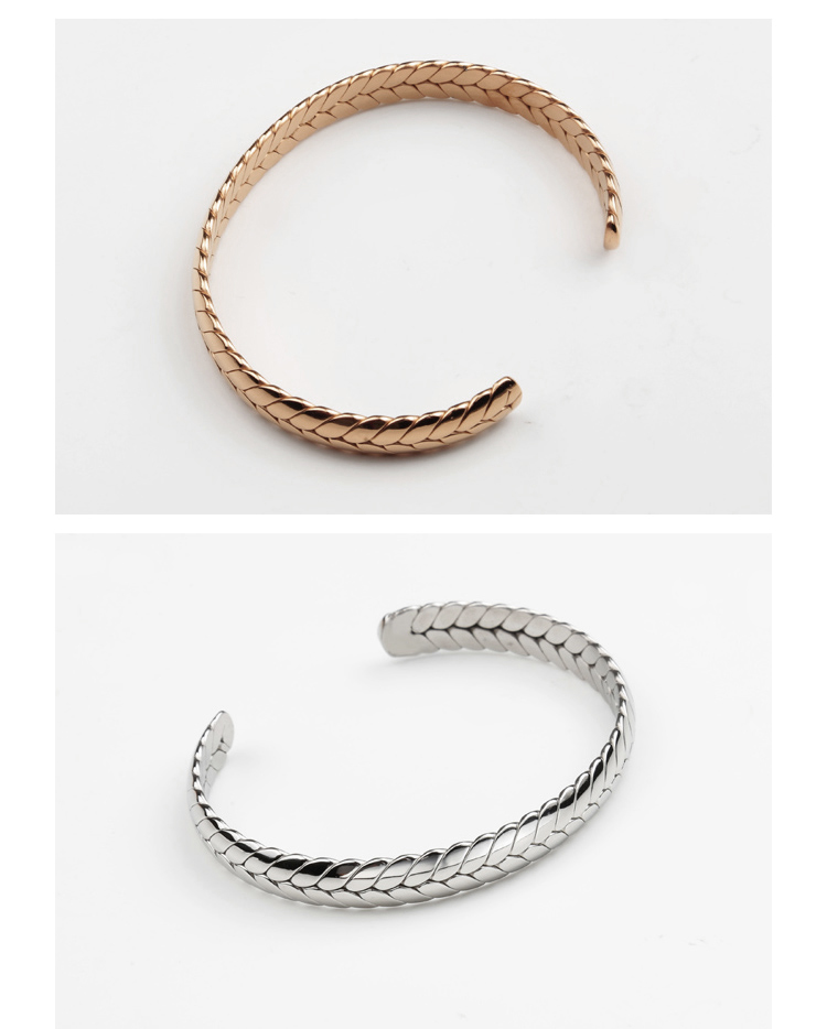 New Fashion Unique Design Jewelry Womens Mens 316L Stainless Steel Spike Bangle Wheat Shaped Open Cuff Bracelet