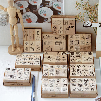 Cute DIY Diary Wooden Stamp Set with Box