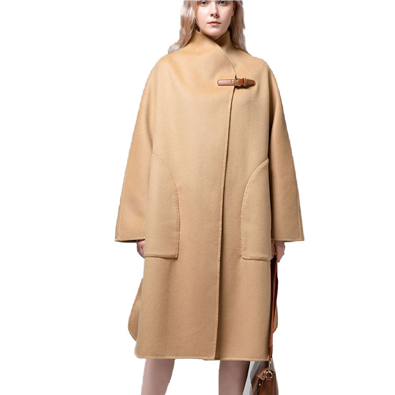 2020 New High Grade Double-Sided Woolen Coat In Long Wool Coat Collar Fashion A-Line Loose Woolen Coat Women Winter Warm