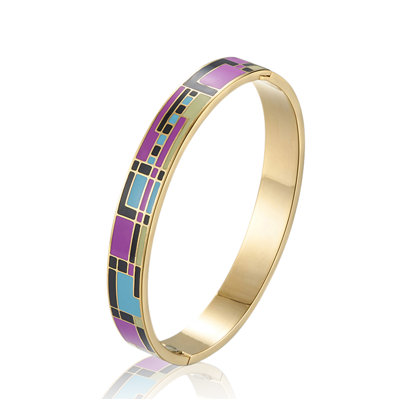 Chinese New Design Stainless Steel Bracelet Gold Enamel Gold Plated 18K Colorful Bangle