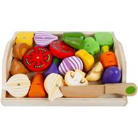Magnetic Wooden Fruit and Vegetable Combination Cutting Toy Set Children Play Pretend Simulation Play set