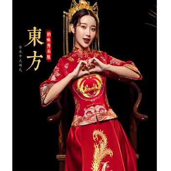 New Chinese dress bride suit show kimono wedding dress toast clothing female traditional chinese wedding dress LA000281