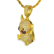 Japão hiphop jóias bling bling iced out zircon pikachu <span class=keywords><strong>dos</strong></span> <span class=keywords><strong>desenhos</strong></span> <span class=keywords><strong>animados</strong></span> pingente