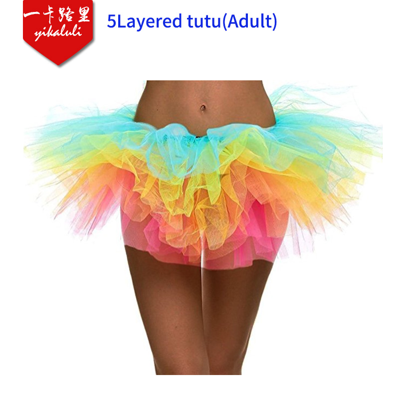 Professional Made Girls Women Adult Costume Party Dance Short Skirt 5Layers Tulle Cosplay Tutu Pettiskirt