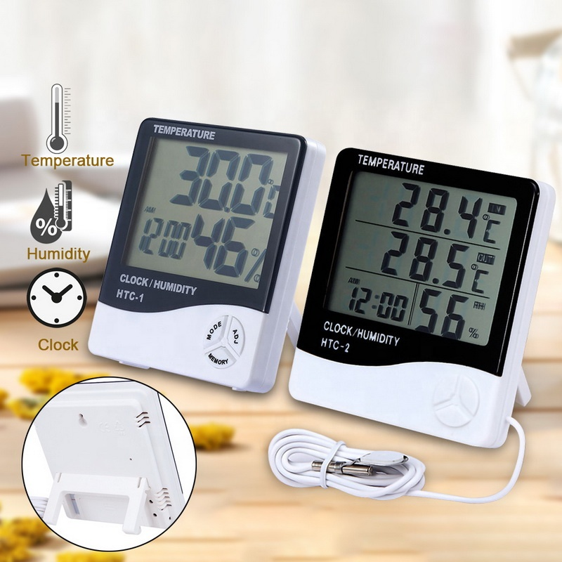 electronic outdoor lcd digital clock humidity meter thermo thermometer hygrometer HTC-1
